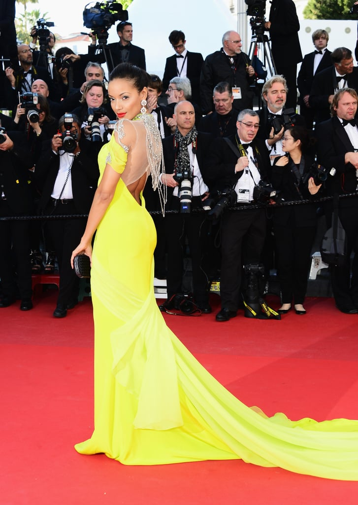 Selita Ebanks amped up the sex appeal on the Blood Ties red carpet in a bright yellow gown with a dramatically bejewelled back cut-out.