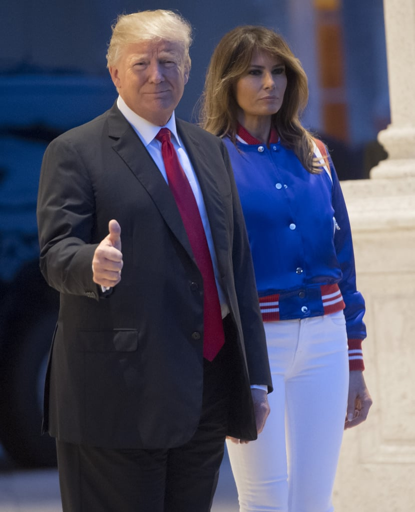 melania s white and blue jacket at bowl