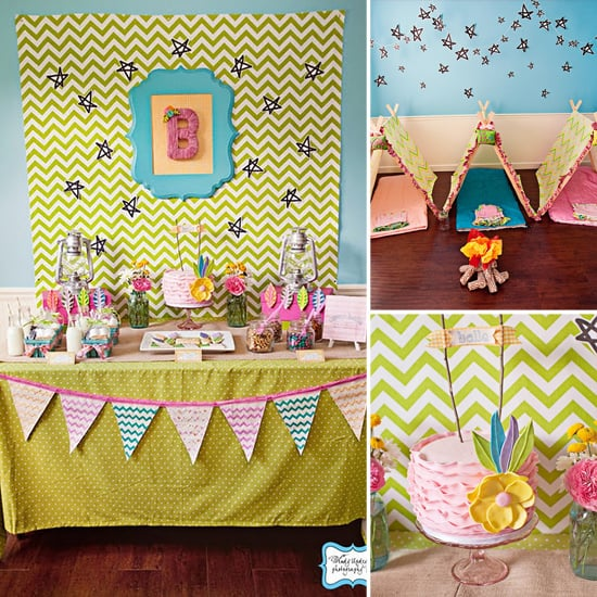a girlie camping themed birthday party