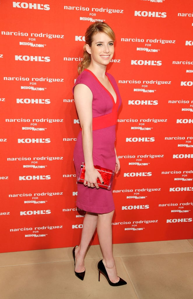 Emma Roberts stepped out for Narciso Rodriguez's Kohl's collection launch party in NYC.