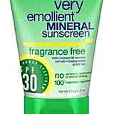 Alba Fragrance Free Broad Spectrum Mineral Sunscreen SPF 30 ($11) ranks well on EWG 2017 sunscreen guide. Both titanium dioxide and zinc oxide are active ingredients.