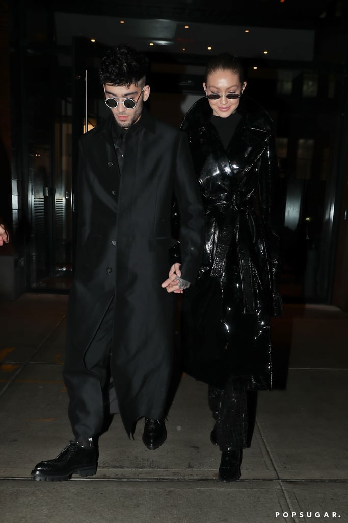 """Zayn Malik celebrated his 25th birthday in style with his girlfriend, model Gigi Hadid, by his side. The """"Dusk Till Dawn"""" singer and former One Director member was spotted in NYC on Friday night holding hands with Gigi while rocking matching all-black ensembles and futuristic shades. The couple, who were rumored to be engaged last year, began dating in November 2015. Although they had a brief split in the Summer of 2016, the two have been going strong ever since. """"[L]ove this man more than I could ever put into words, & am inspired by his drive to be and do better everyday,"""" Gigi captioned a sweet birthday post on Instagram before stepping out with her man. Read on to see more photos from their fun night out.        Related:                                                                                                           Gigi Hadid and Zayn Malik's Romance Is Almost Too Hot to Handle"""