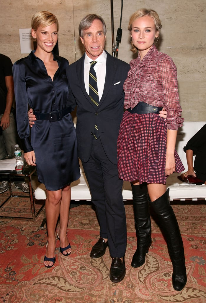 Hilary Swank and Diane Kruger hung out backstage with Tommy Hilfiger during his Mercedes-Benz Fashion Week presentation in September 2008.
