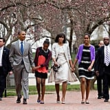 The Obamas went for an Easter stroll after they attended church on Easter Sunday.