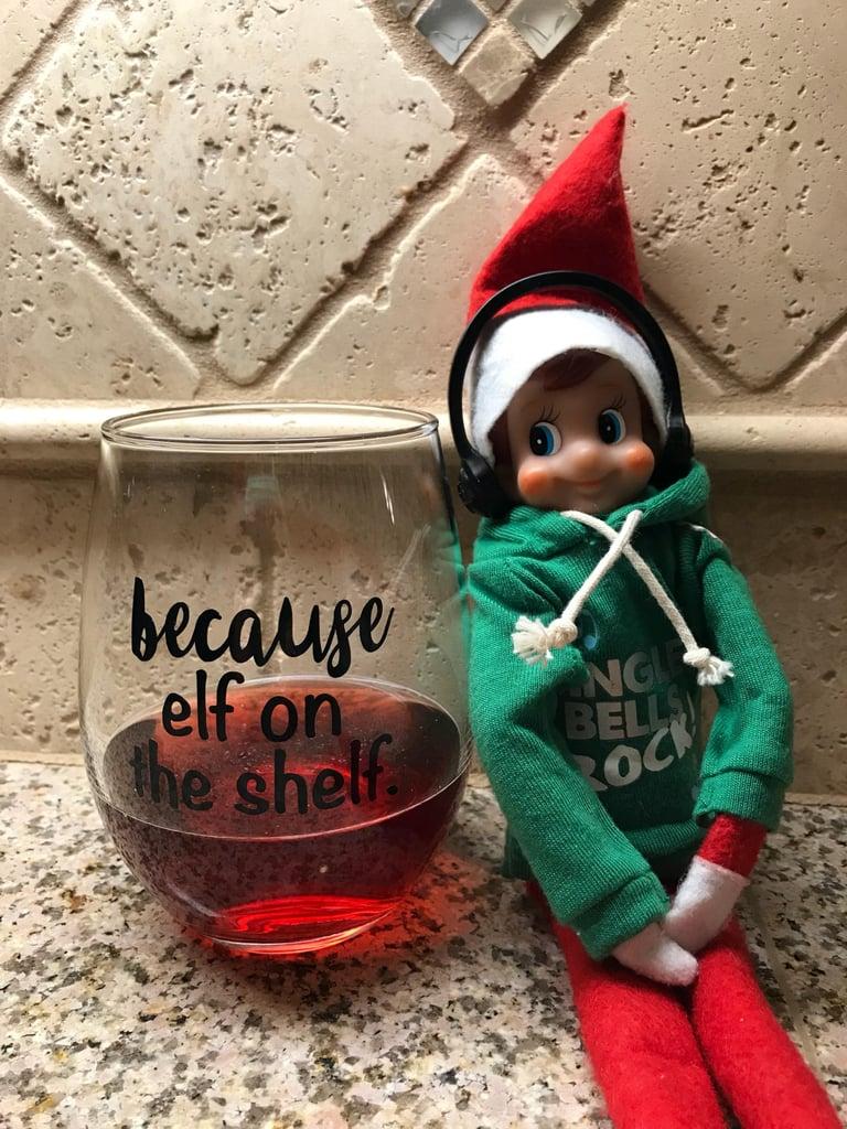 Elf on the Shelf Wine Glass