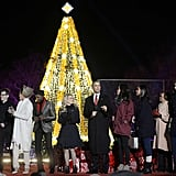 And of course, they highlighted the pretty white lights on the tree behind her.