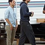 Bradley Cooper and Justin Bartha hung out on the set of The Hangover Part III.