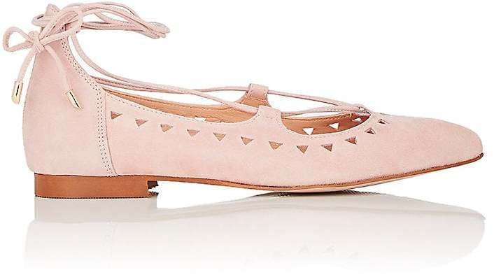 Barneys New York Perforated Suede Lace-Up Flats