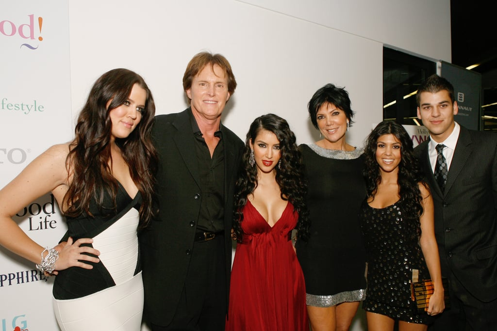 She posed with her sisters Khloé and Kourtney, brother Robert, and Kris and Bruce Jenner at the premiere party for Keeping Up With the Kardashians in LA in October 2007.
