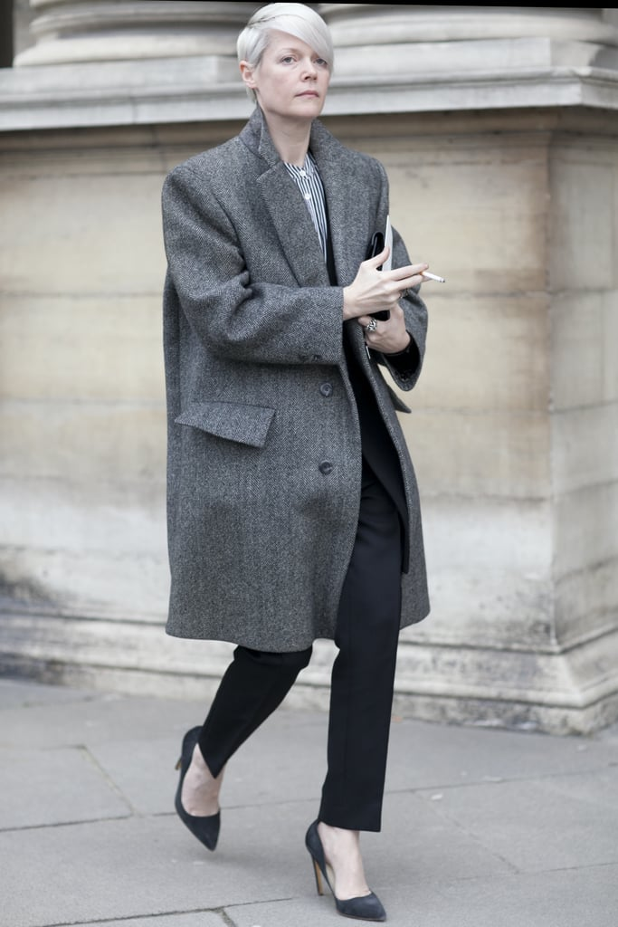 Kate Lanphear gave us an easy play on menswear with a wool coat and tailored separates.