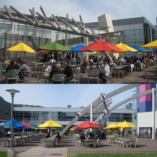 Upon arrival at Google's main campus café, 43, I was greeted by a large patio with colorful umbrellas.  Not just on these umbrellas, the primary colors of Google's logo were everywhere. From plates to chairs to serving trays, red, green, yellow, and blue were everywhere making the campus feel oddly like a kindergarten for adults.