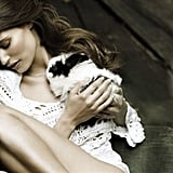 Bianca Balti cozies up to a rabbit in Italian Vanity Fair.