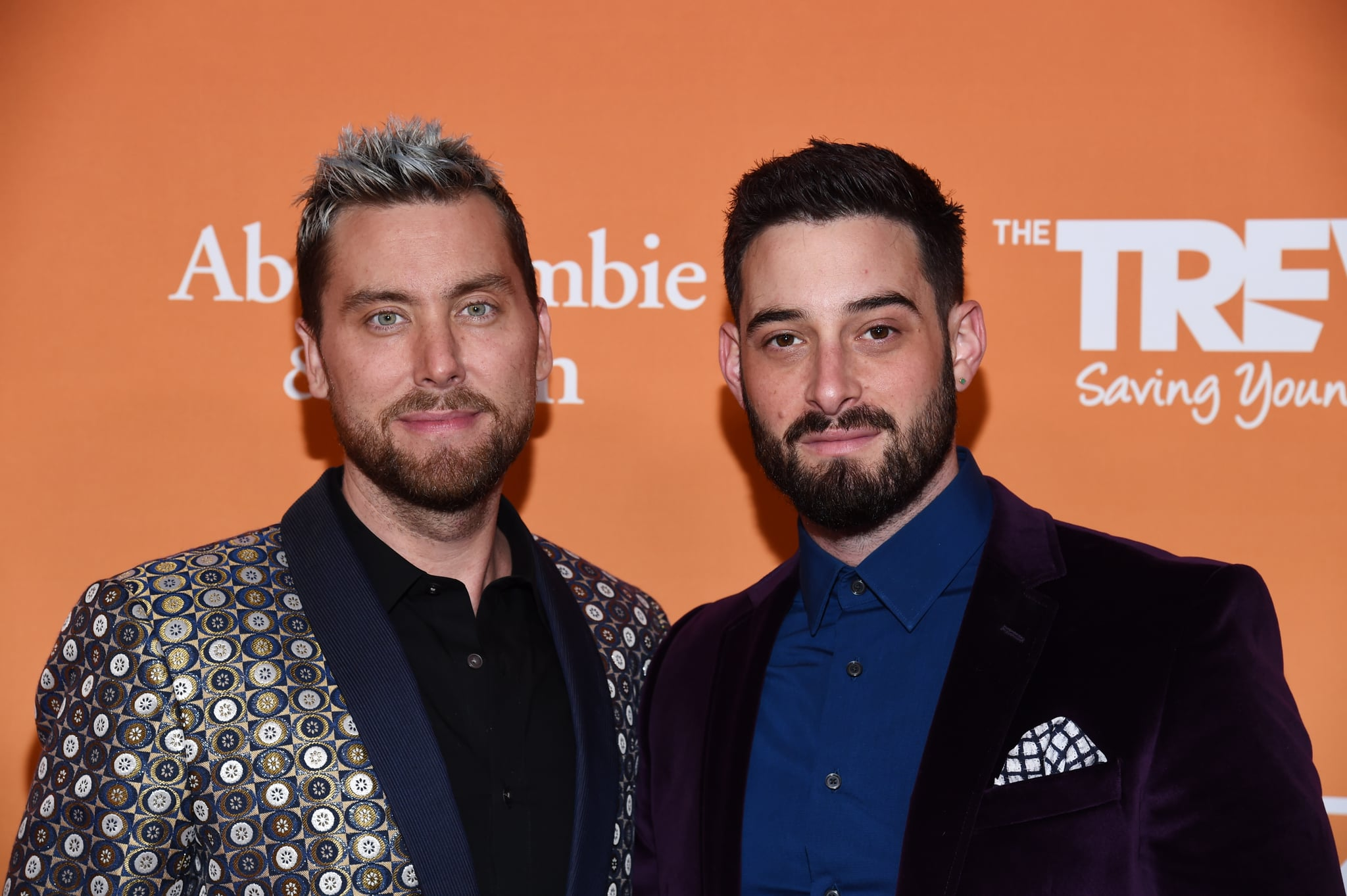 BEVERLY HILLS, CALIFORNIA - NOVEMBER 17: Lance Bass (L) and Michael Turchin arrive at the 2019 TrevorLive Los Angeles Gala at The Beverly Hilton Hotel on November 17, 2019 in Beverly Hills, California. (Photo by Amanda Edwards/WireImage)