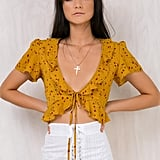 Princess Polly Meet Minnie Tie Front Top ($45)    Discount: Enter FRENZY25 at checkout for 25% off.