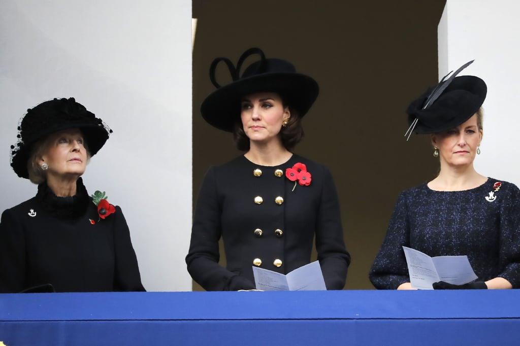 "Kate Middleton, Prince William, and Prince Harry all paid their respects at the annual Remembrance Sunday service in London over the weekend. Kate, who is currently pregnant with her third child, donned a faux bob and a double-breasted Dolce & Gabbana coat for the somber event, and William and Harry suited up in their uniforms. Harry and Will both laid wreaths at The Cenotaph at the Whitehall war memorial in honor of soldiers who suffered or died in WWI and WWII, while Kate watched the service from the balcony of the nearby Foreign and Commonwealth Office with Katharine, Duchess of Kent, and Sophie, Countess of Wessex.       Related:                                                                                                           Here Come William, Kate, and Harry! How the Young Royals Have Stepped Up in 2017               The family's outing comes just days after Harry officially opened the Field of Remembrance at Westminster Abbey. The memorial garden honors fallen soldiers, and while there, Harry tried to bring light to somber occasion when a fan questioned him about the whereabouts of girlfriend Meghan Markle. ""I took the mickey and asked where his missus was and he said she wasn't here,"" veteran Matt Weston explained to reporters. ""I asked if she would come next time because she's awesome and he said he couldn't hide her anywhere, but I said you wouldn't have to hide her."" Meghan is rumored to be moving in with Harry this month, so hopefully we'll get to see them out and about soon."