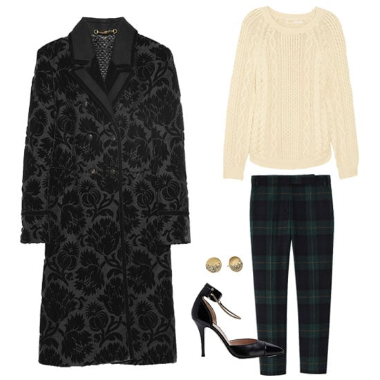Offset the dark romantic vibe of the jacquard coat with easy classics. An ivory-hued cable-knit sweater and plaid ankle-cut trousers provide a no-fail foundation. But for the polish? Seek minimalist gold jewelry and a sleek black pump. Get the look:   Michael Michael Kors Cable Knit Cotton Sweater ($150)  Tibi Plaid Skinny Beatles Pants ($330)  Kenneth Cole Urban Glitz Diamond Stud Earrings ($24)  Gucci Double-Breasted Thistle Jacquard Coat ($6,995)  Hugo Boss Leather Ankle-Strap Nerissa Pump ($475)
