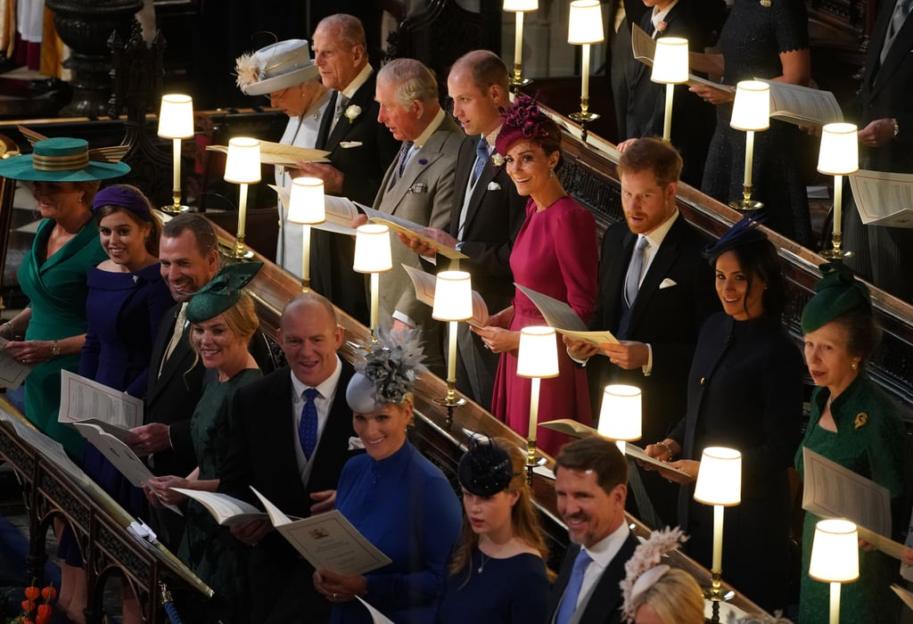 The whole royal family was seated within the first two rows of St. George's Chapel. Sarah was seated in the front row with immediate family and a few cousins, while the highest-ranking royals, including the Queen, Prince William, and Prince Harry, chose to sit in the second row.
