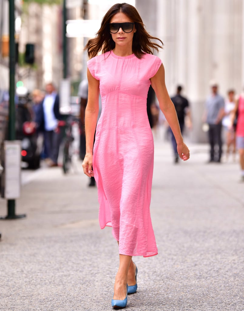 Victoria beckham 39 s pepto bismol pink dress is just what the doctor ordered popsugar Pink fashion and style pink dress