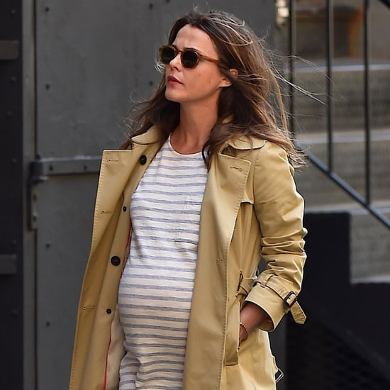 Keri Russell Pregnant Wearing Striped Dress in NYC Pictures