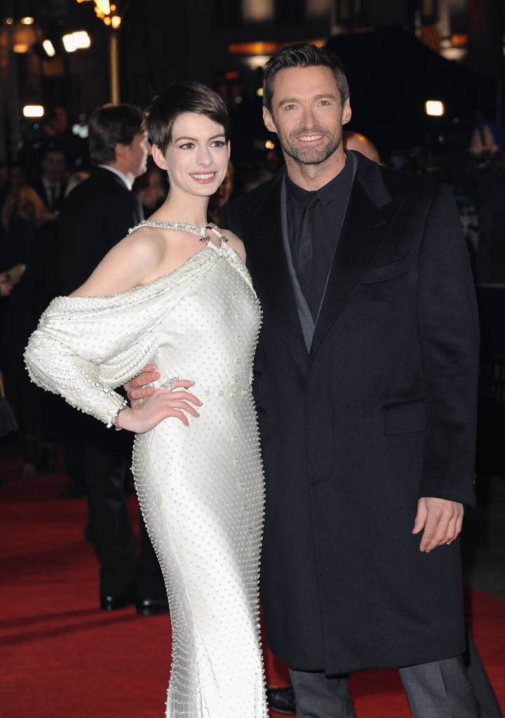 Anne Hathaway and Hugh Jackman stepped out in London for the  Les Miserables premiere.