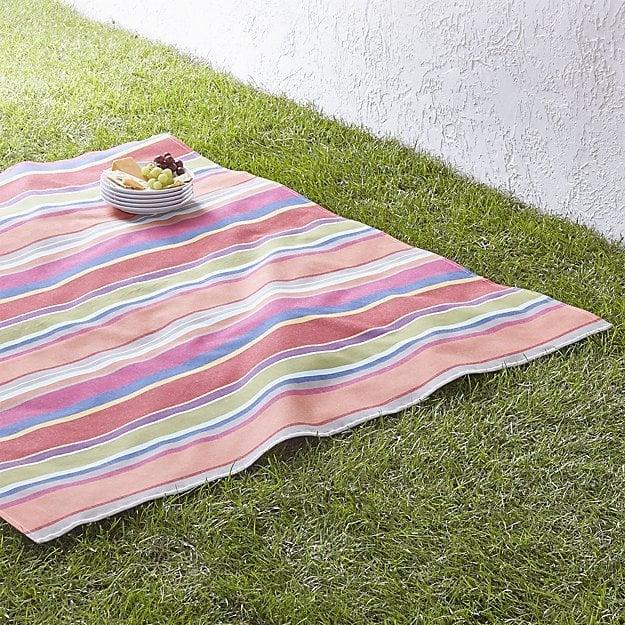 "Crate & Barrel French Stripe 60"" Square Picnic Blanket"