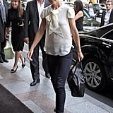 The star's necktie blouse and python peep-toes oozed Parisian-chic style while vacationing in the City of Light in July 2011.