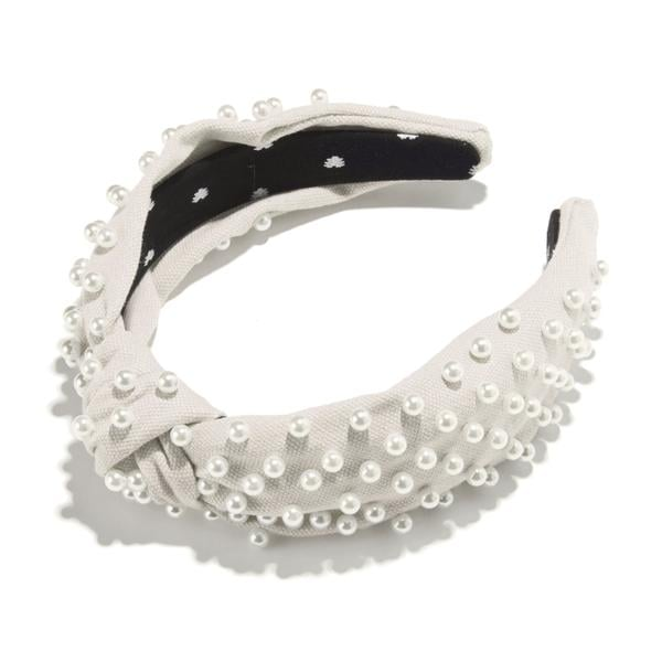 Lele Sadoughi Ivory Woven Pearl Headband