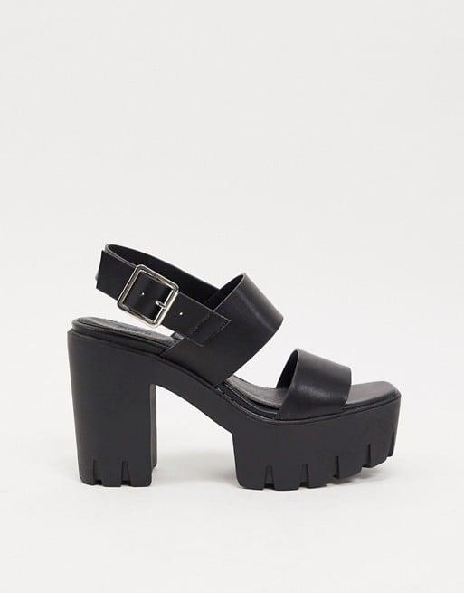 wide fit black platform sandals