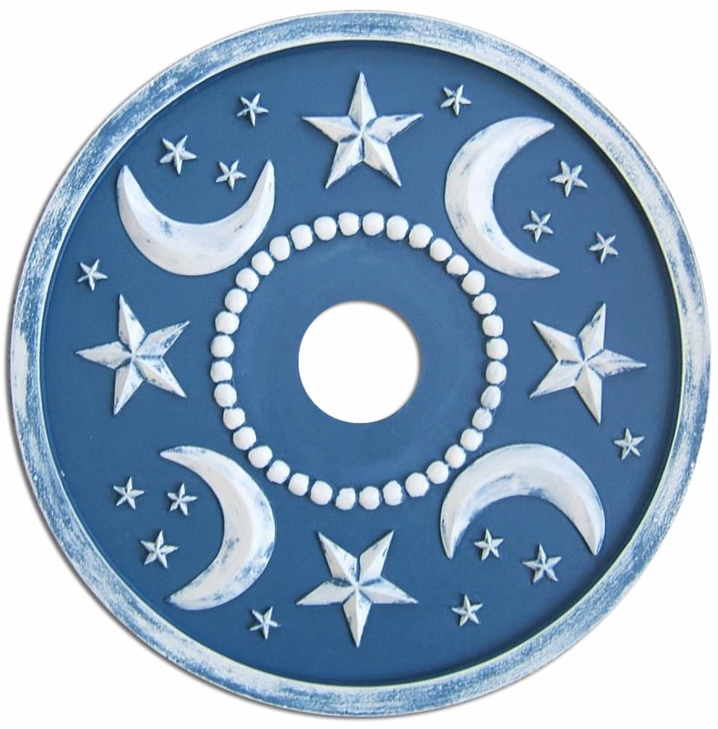 The sky's the limit in your nursery with a deep-blue moon and star medallion ($145).