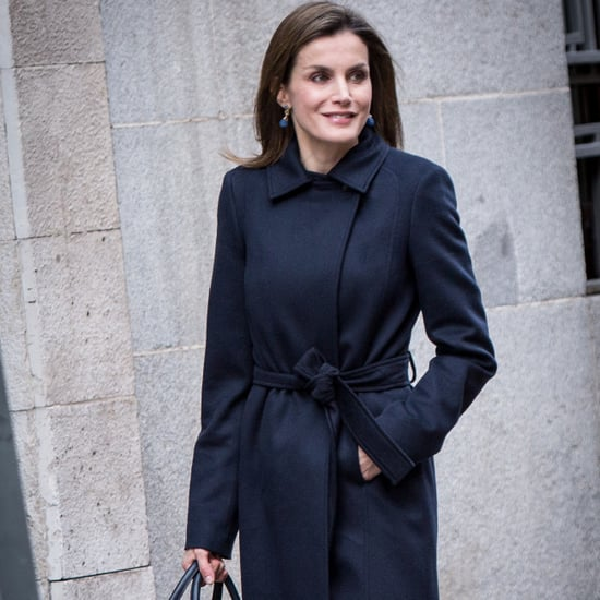 Queen Letizia's Navy Blue Coat January 2017