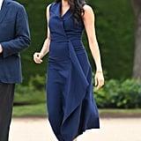 Meghan in a Navy Sleeveless Dress