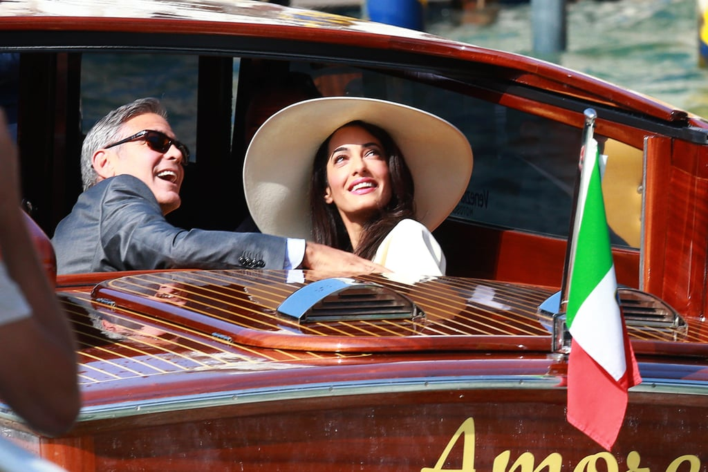 George and Amal made their way to their civil wedding in Venice in September 2014.