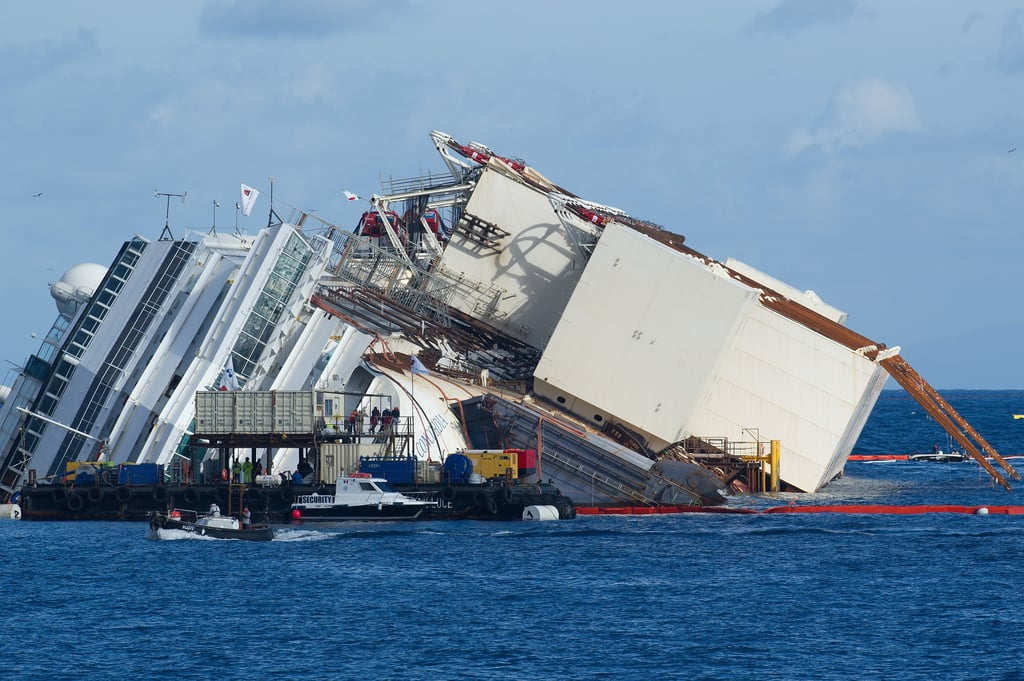 The ship was prepared for a salvage operation after a year and a half in the water.