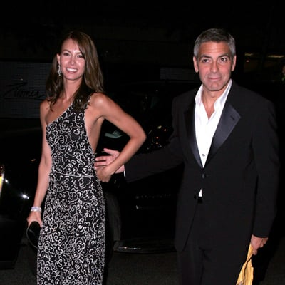 Sarah Larson and George Clooney After Costume Gala