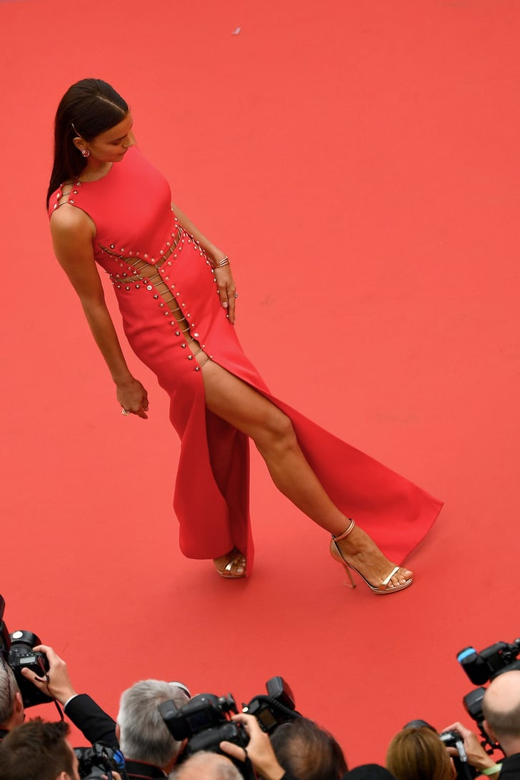 irina shayk red versace dress cannes 2018 popsugar