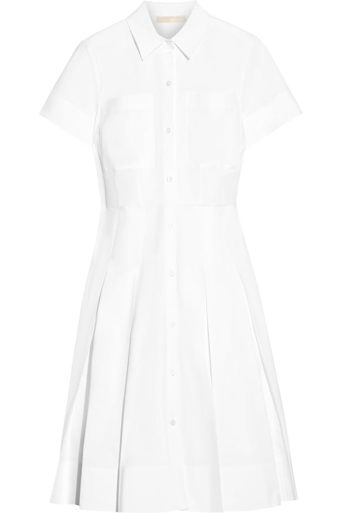Michael Michael Kors Pleated stretch-cotton poplin shirt dress ($165)