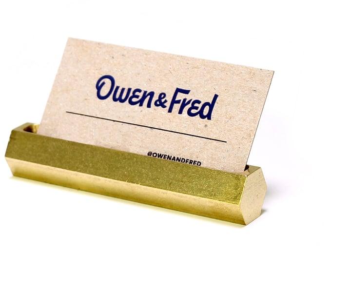 Owen & Fred - Hex Brass Business Card Holder ($35)