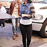 Katy Perry rocked a hat while John Mayer sported a leather jacket.