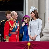 Prince Philip, Duke of Edinburgh had Kate and Prince William laughing as they stood on the balcony of Buckingham Palace that year.
