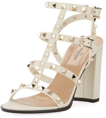 4b05bcc2b Valentino Rockstud Leather 90mm City Sandal   Best Block Heels For ...