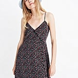 Silk Button-Wrap Cami Dress