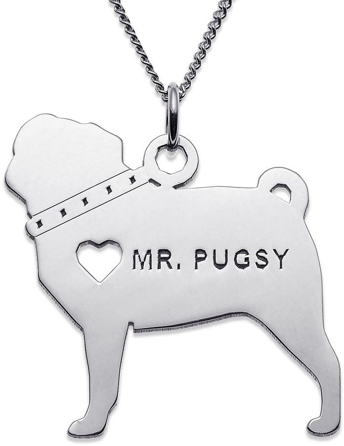 Personalized Pug Sterling Silver Pendant Necklace ($250)