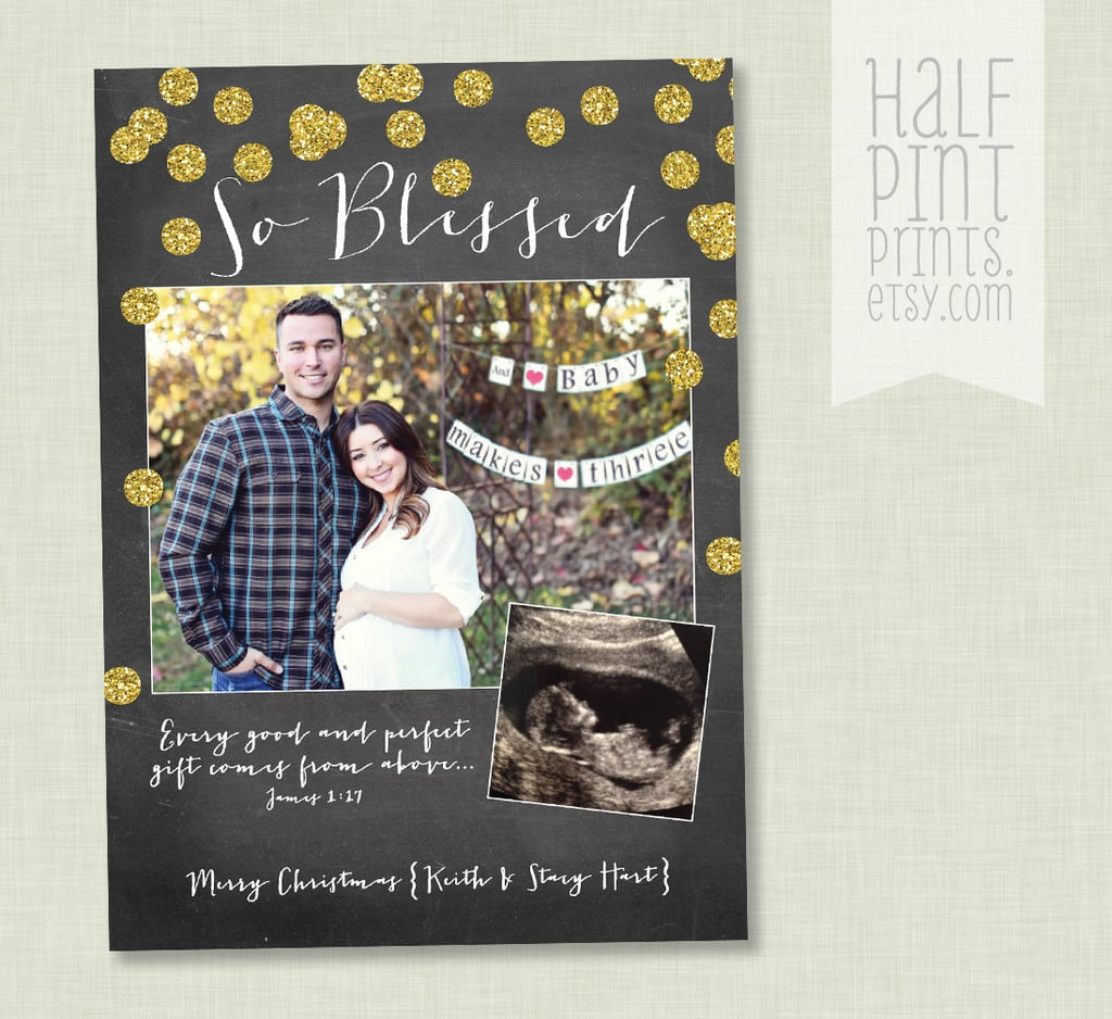 Beautiful So Blessed Pregnancy Announcement Holiday Card