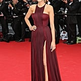 Blake Lively Wearing a Maroon Dress With a Fun Neckline