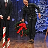 Jimmy Fallon was impressed with Tom Cruise's wreath-tossing skills.