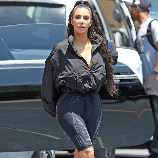 Kim Kardashian Wearing Yeezy Slides and Socks