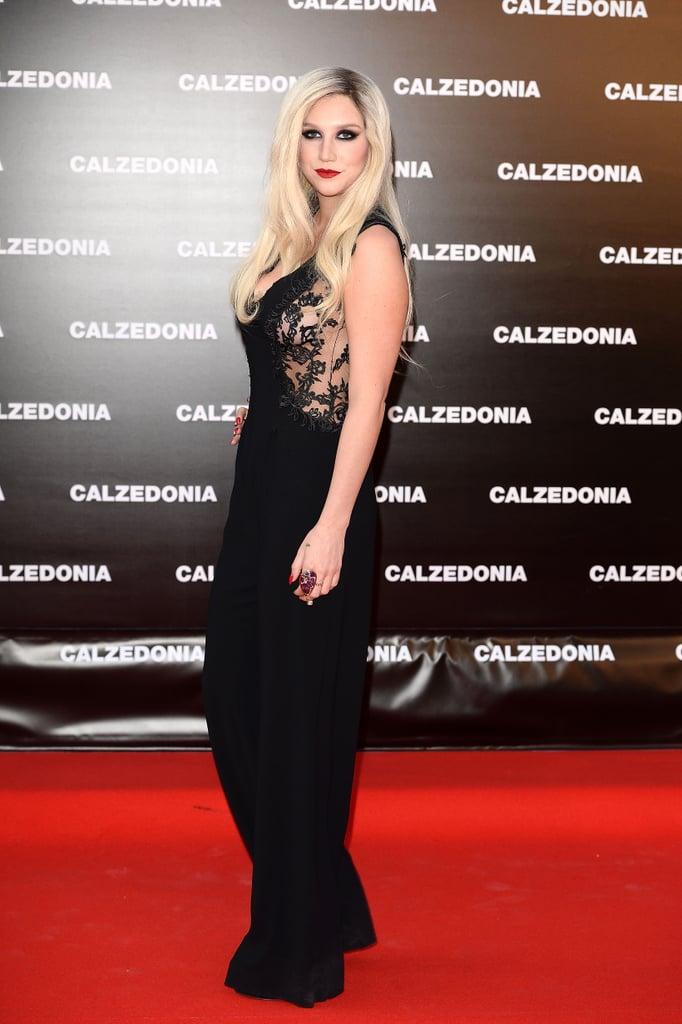 Ke$ha wore a modest black jumpsuit for the Calzedonia event in Italy.