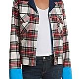 Women's Harvey Faircloth Navy Satin Collar Plaid Flannel Jacket