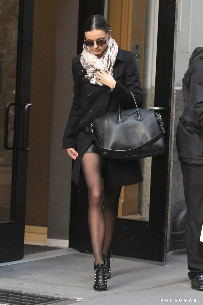 Miranda Kerr exited her building on Wednesday morning.