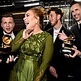 Adele and her crew celebrated their album of the year win in 2017.